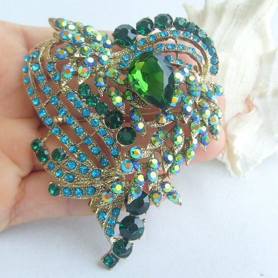 Hochzeit - VanessaJewel 3.15 Inch Gold-tone Blue Green Rhinestone Crystal Love Heart Brooch Pendant Women Jewelry BP05652C12