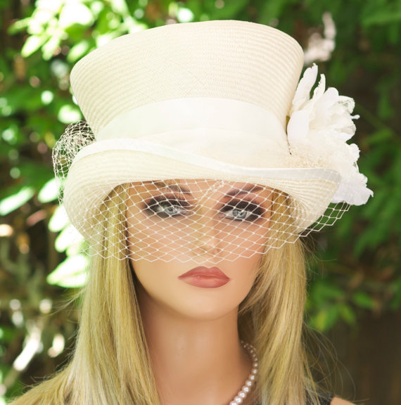 Ivory Cream Top Hat Veil And Lace Straw Summer Derby Garden Party Tea Wedding Melbourne Cup