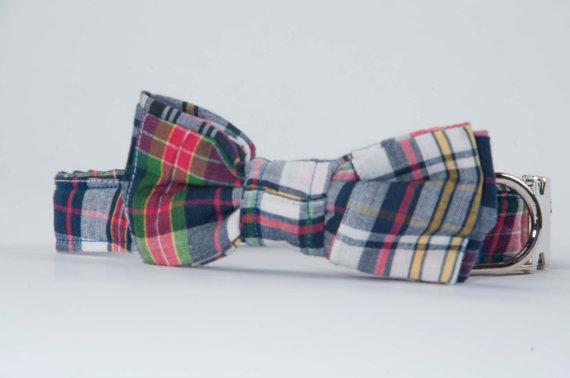 Hochzeit - Preppy Madras Bow Tie Dog Collar, Dog Bowtie Collar, Nautical Dog Collar, Plaid Dog Bow Tie Collar, Dog Wedding Collar, Custom Dog Collar