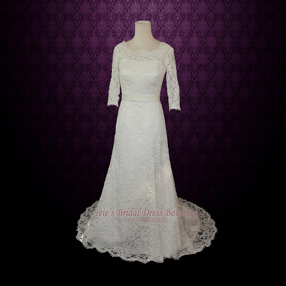 Hochzeit - SALE - 25% OFF Vintage Modest Lace Wedding Dress with Long Sleeves