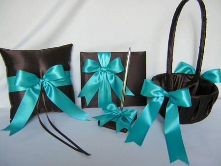 Hochzeit - Chocolate Brown Turquoise 2 Flower Girl Baskets Ring Bearer Pillow Guest Book Pen Set Wedding Accessories