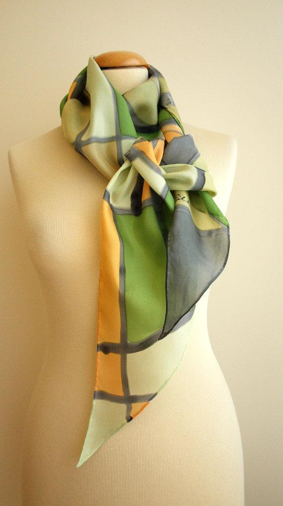"Свадьба - Hand Painted Silk Scarf.Silk Scarf.Hand Painted Silk .Wedding Gift.Bridesmaids.Silk belt.Silk Headband.Silk Art.Style abstract.78""x7.8"" Ooak"