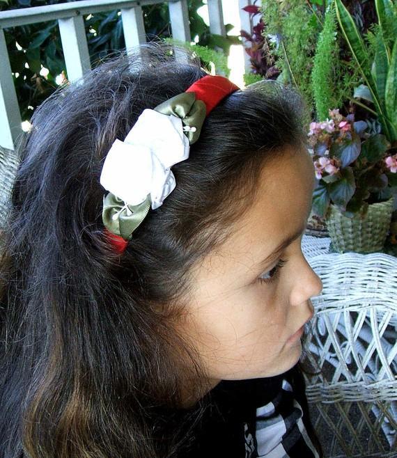Mariage - Girls/Ladies Victorian Ribbon Rose Hair Band/Headband/Elegant White and Red