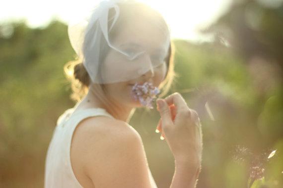 Wedding - Wedding Veil Blusher Tulle Veil - Wedding White Veil - Bridal Birdcage Veil - Modern Veil - Wedding Accessory