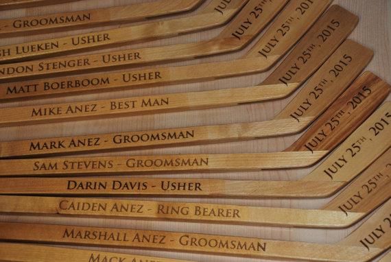 Wedding - 1 Personalized Mini Hockey Stick , Ring Bearer Gift, Groomsman Gift, Best Man Gift, Engraved Hockey coaches gift, newborn gift
