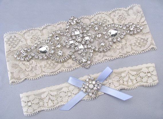 Mariage - Something Blue Wedding Garters, Ivory / White Lace Keepsake / Toss Bridal Garter Set, Crystal Rhinestone Custom Garter, Petite to Plus Size