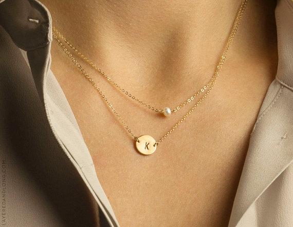 زفاف - Delicate Pearl Necklace, Minimal Suspended Pearl on Dainty Thin Gold Chain 14k Gold Fill, Sterling Silver / Simple Layering Necklace LN613.L
