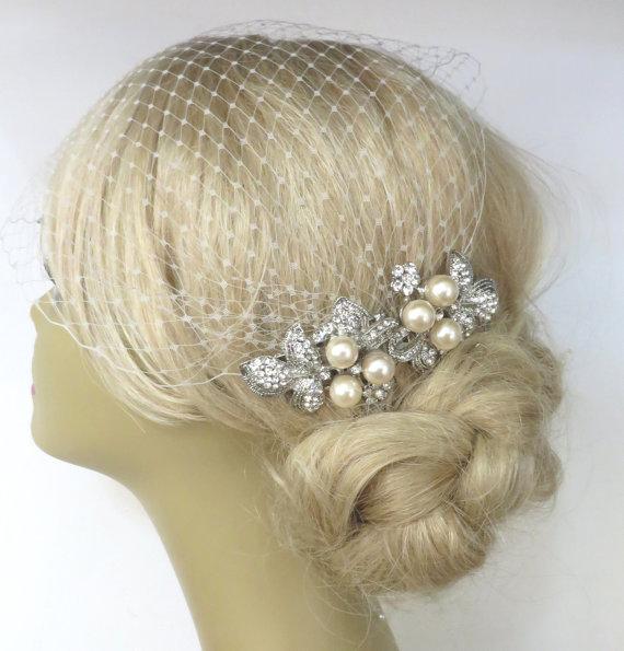 Hochzeit - Birdcage Veil and a 2 Hair Combs - ( 3 Items ) - Bridal Headpiece, Rhinestone Bridal Comb,Headpieces,  Weddings,Blusher Bird Cage Veil