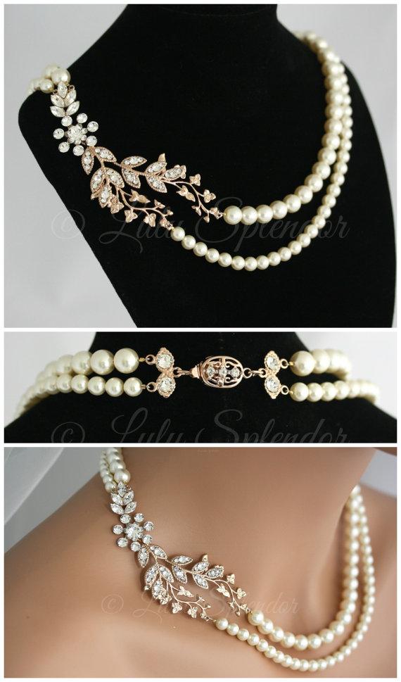 زفاف - Rose Gold Bridal Necklace Leaf Wedding Necklace Art Deco Crystal Pearl Wedding Jewelry Double Strand Pearl Necklace NEVE