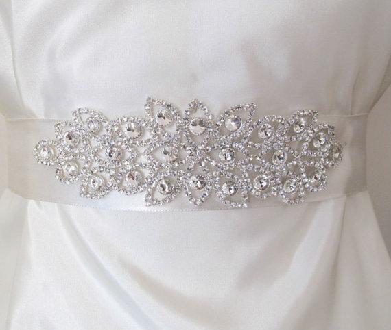 Свадьба - Bridal Belts with Rhinestones Bridal Sashes Crystal Beaded Bridal Wedding  Belt