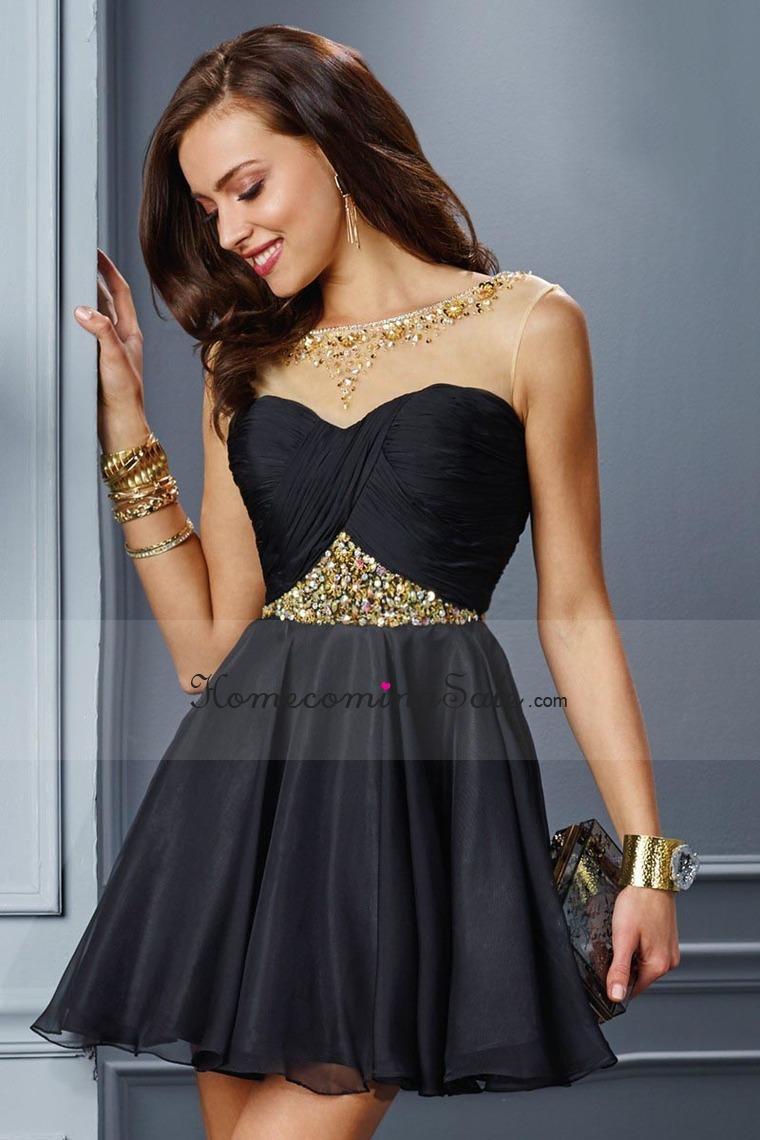 Hochzeit - 2015 Bateau Homecoming Dresses A Line Short Chiffon
