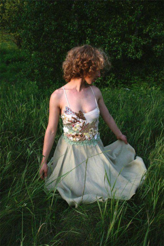 Mariage - Bohemian Wedding Dress, Farfalla , Hippie Wedding Dress, Hemp Wedding Dress, Fairy Wedding Dress, Unique Alternative Wedding Dress