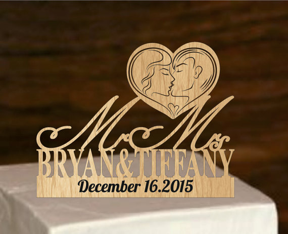 Wedding - wedding cake topper - silhouette wedding cake topper - rustic wedding cake topper - monogram cake topper - bride and groom, personalized