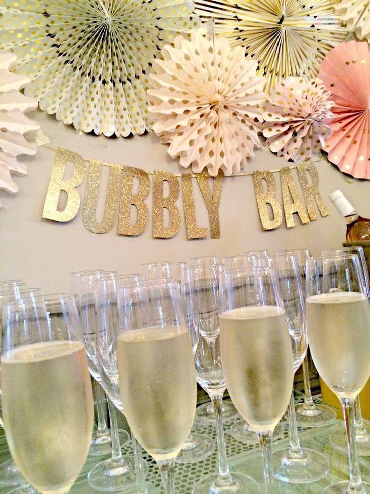 bubbly bar blush pink gold bridalwedding shower party ideas
