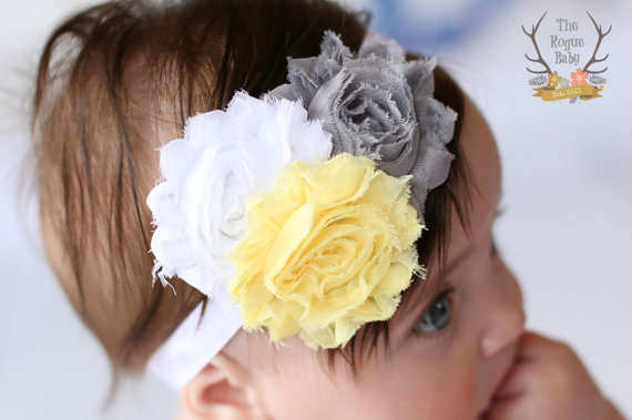 Mariage - Gray Yellow White Baby Headband Grey- Newborn Infant Baby Toddler Girls Adult Wedding Spring Easter