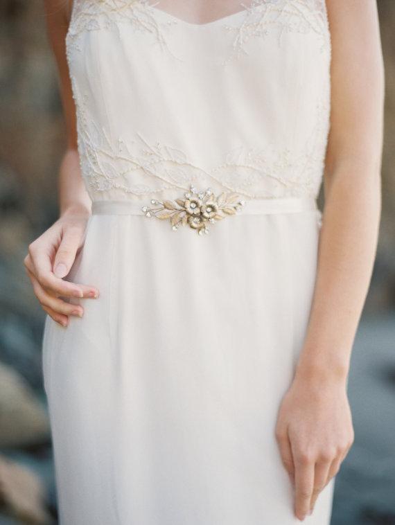 Mariage - Gold Bridal Sash, Flower, Leaf and Rhinestone Sash -Style 8115