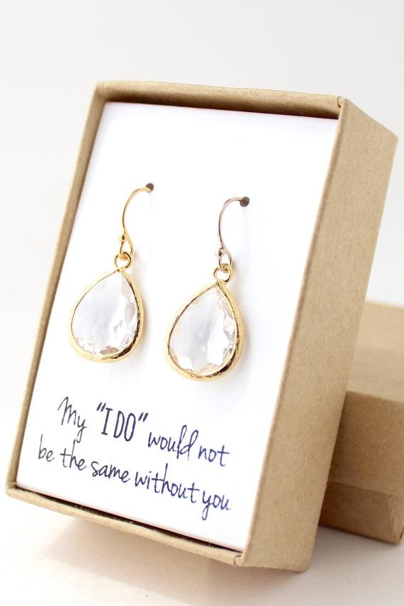 Свадьба - Clear Crystal / Gold Teardrop Earrings - Crystal Bridesmaid Earrings - Crystal Teardrop Earrings - Bridesmaid Gift Jewelry - EB1