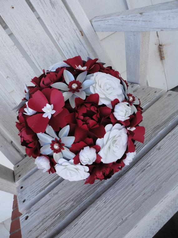 Mariage - Paper Wedding Flowers Large Bridal Bouquet Red - Paper Rose Peony Poppy Paper Bouquet Paper Flowers MADE TO ORDER
