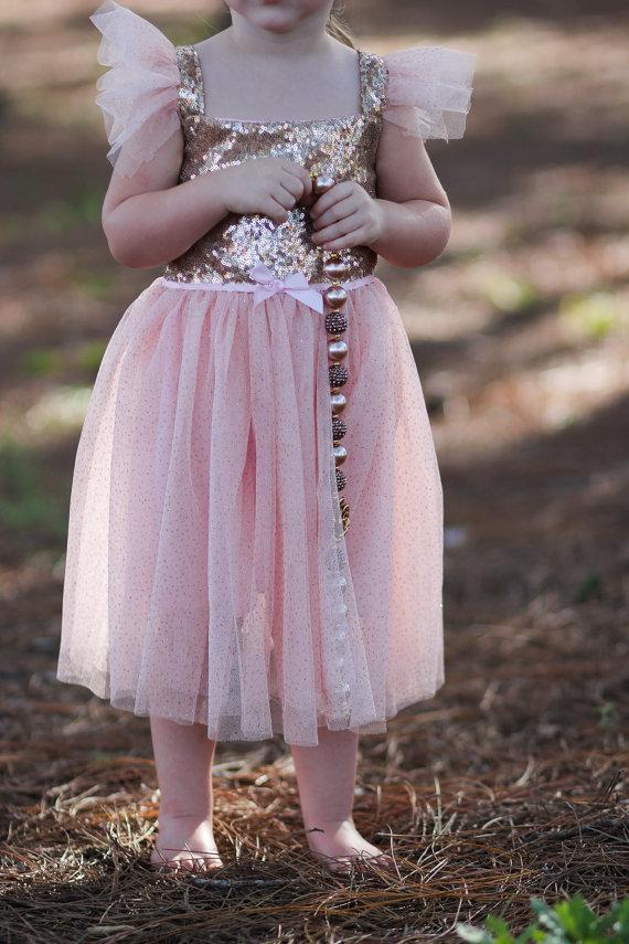 Hochzeit - Pink Sequined Glitter Tulle Princess Girls Toddler Baby Dress, 1st Birthday Dress,  Flower Girl Dress, Tutu Dress, Holiday Dress