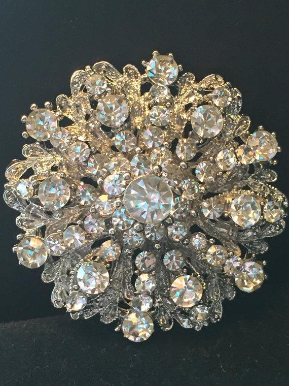 Mariage - Rhinestone Brooch - Crystal Brooch - Vintage Style Brooch- Perfect For Bridal Wedding Bouquets - Bridal Sash