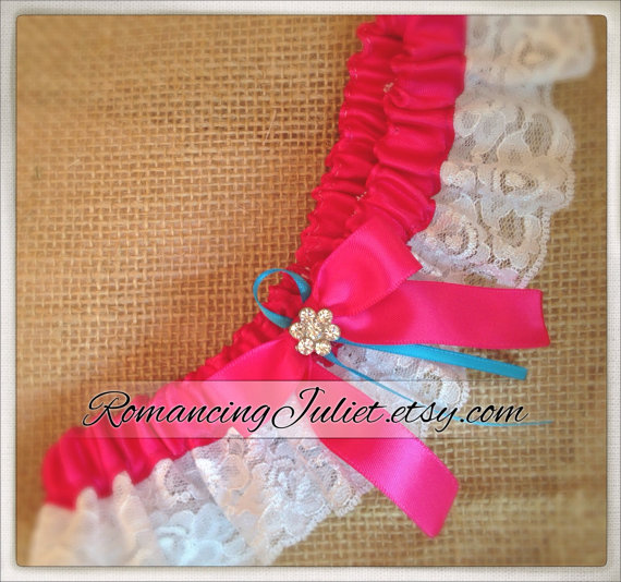 Hochzeit - Lovely Vintage Style Lace Garter with Rhinestone Accents..shown in white/dark fuchsia pink/turquoise