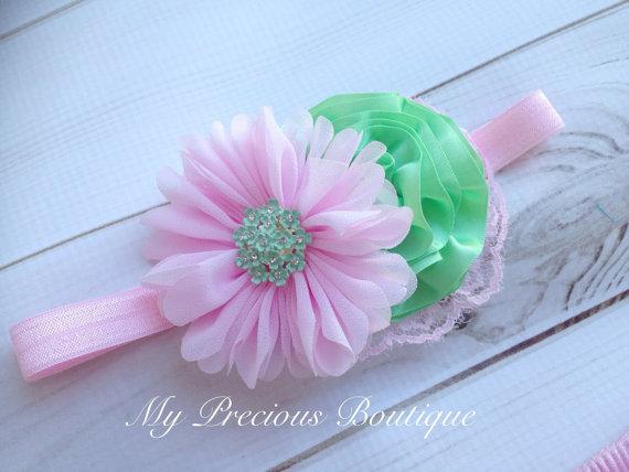 Wedding - Light pink and mint headband or clip, baby girl headband,newborn headband,photography prop, baby pink and mint, pink and green, wedding