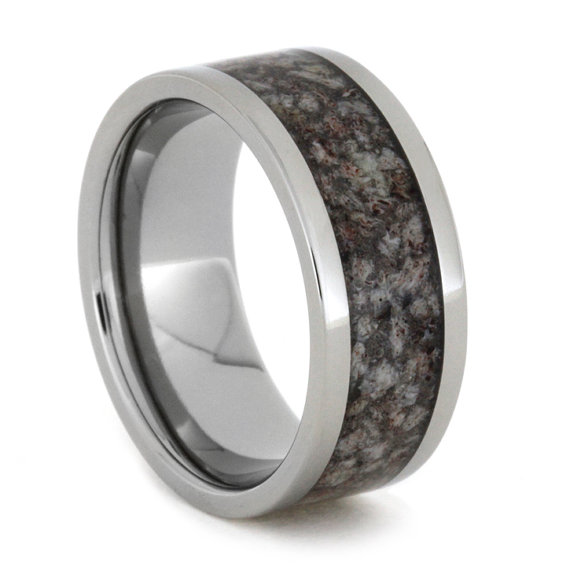 Hochzeit - Titanium Ring with Dark Tone Crushed Antler, Deer Antler Wedding Band and the Very First Crushed Antler Ring, Ring Armor Included