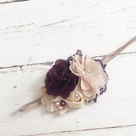 Mariage - plum purple champagne headband-chiffon butlap lace headbabd-wedding flower girl headband