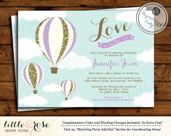 hot air balloon bridal shower invitation love is in the air wedding shower invite bridal brunch birthday printable lr1003