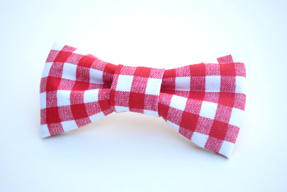 Свадьба - Gingham Bow Tie, Red plaid, Plaid Bow Tie, Valentine bow tie, Newborn prop, country, Valentine's Day, Fourth of July, Independence Day