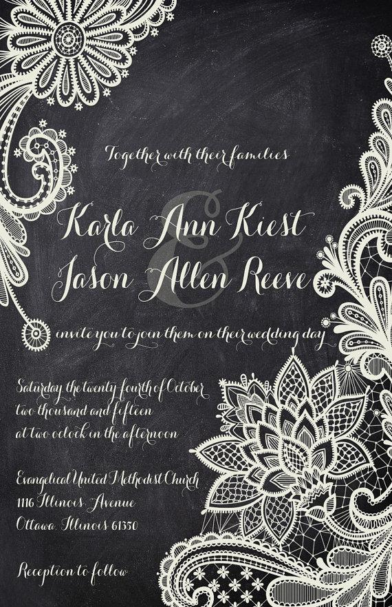 Rush Lace Chalkboard Wedding Invitations - Black And White ...