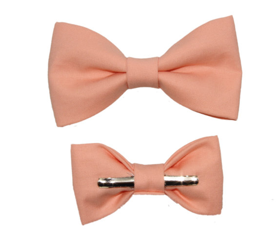 Mariage - Peach Color Clip On Cotton Bow Tie - Men / Boys / 2T 3T 12-18 Months Bowtie Groom / Wedding / Ring Bearer