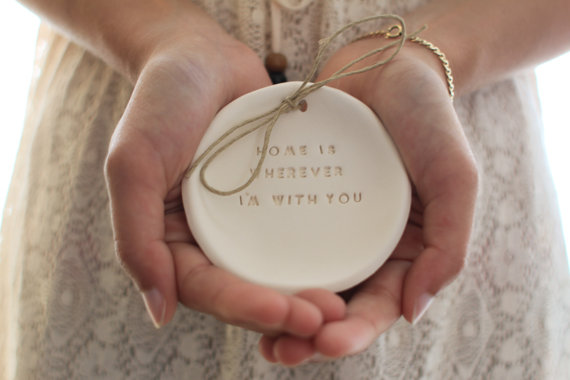 Mariage - Ring bearer pillow alternative Wedding ring dish - Ring bearer Wedding Ring pillow Home is wherever I'm with you