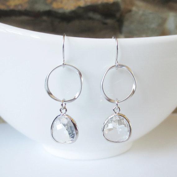 Mariage - Sparkle Hoop Drop Earrings, Dangle Earrings, Hoop, Wedding Jewelry, Bridesmaid, Bride, Silver, Crystal, Clear, Valentine Gift
