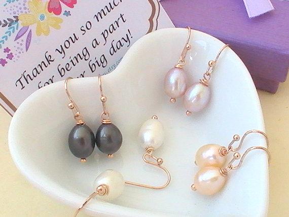Mariage - Freshwater Pearl Earrings - Rose Gold Earrings - Bridal Earrings - Unique Bridesmaid Gift Idea- Wedding Jewelry - Freshwater Pearl Jewelry