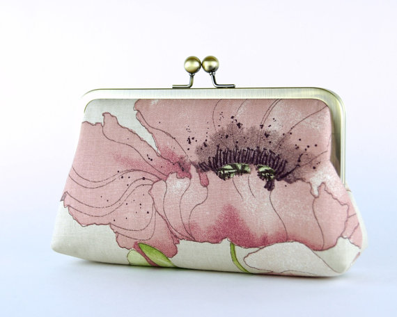 Mariage - Bridesmaid Clutch, Romantic Poppy Clutch (choose your clutch and color) With Silk Lining, Wedding clutch