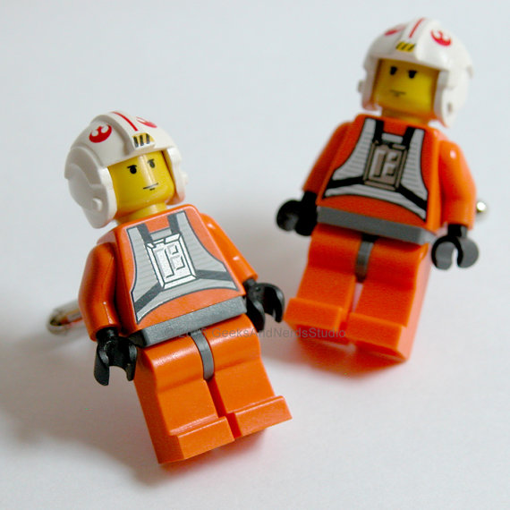 Свадьба - Star Wars Cufflinks - LEGO Luke Skywalker Pilot Cufflinks - Star Wars Wedding - Groomsmen Gift - Best Man Cufflinks - Geek Jewelry Cufflinks