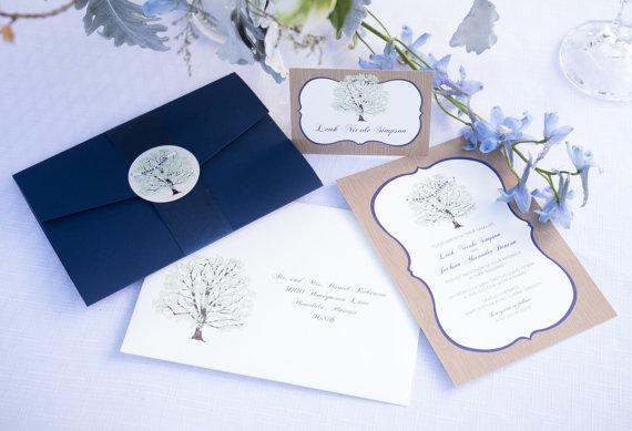 Wedding - Tree Wedding Invitation Navy, with Woodgrain, Invitation Sample, Navy Pocketfold, Rustic Invitation Suite