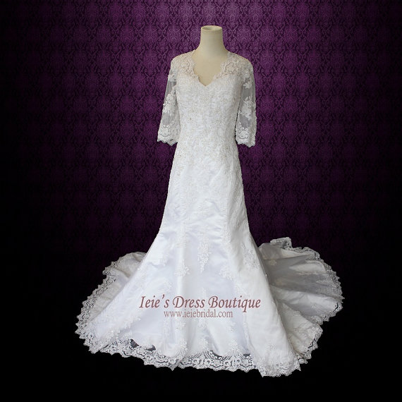 Hochzeit - Modest Lace Wedding Dress with 3/4 Sleeves