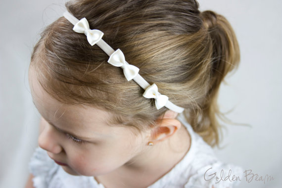 Boda - Flower Girl Headband -  Three Small Ivory Satin Bows Handmade Headband - Baby to Adult Headband