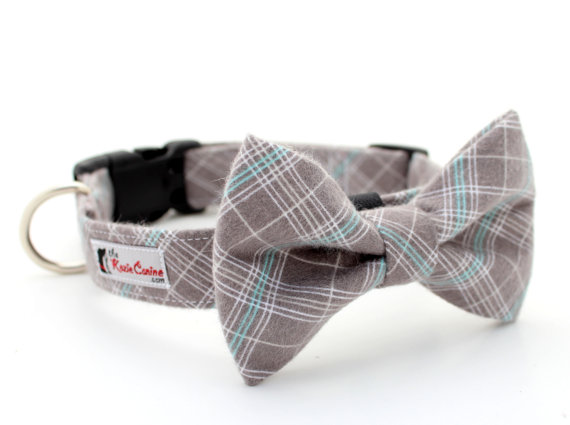 Свадьба - Plaid Flannel Dog Collar (Grey, Gray, Turquoise, White) (Matching Plaid  Bow Tie Separately)
