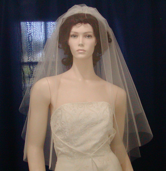Mariage - Wedding Veils Bridal Veil  Candlelight Ivory 2 Tier fingertip length Circular Cut  featuring a sheer plain cut edge