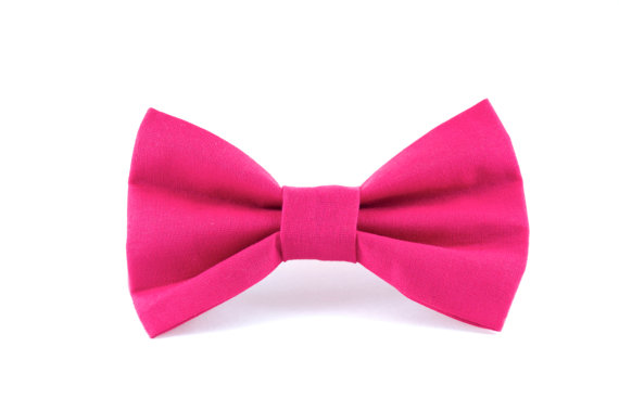 Свадьба - Pink Linen Dog Bow Tie - Hot Pink Raspberry Detachable Dog Collar Bow Tie