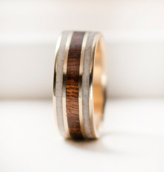 Mens Wedding Band Mens Gold Wedding Ring With Wood And Antler ...