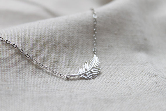 Mariage - Dainty simple Feather Necklace - S2172-1