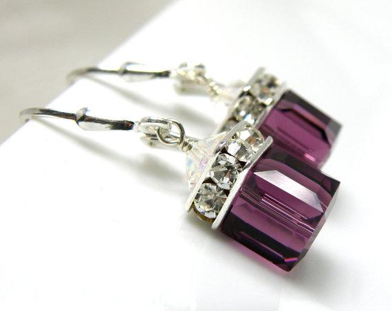 Mariage - Purple Amethyst Earrings, Drop Swarovski Crystal Cube, Sterling Silver, Bridesmaid Wedding Jewelry, February Birthday, Birthstone
