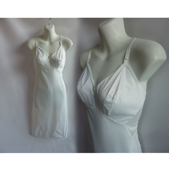 Mariage - 50s Vintage Slip Size S 34 White Nylon Lace Van Raalte 60s
