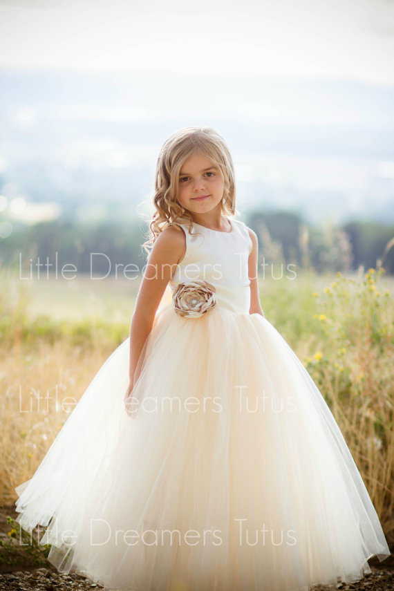 Mariage - NEW! The Juliet Dress in Ivory/Champange with Flower Sash - Flower Girl Dress