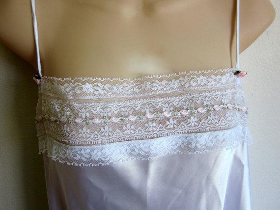 Hochzeit - Vintage Nightgown bridal white satin slip sexy lingerie edwardian chemise M