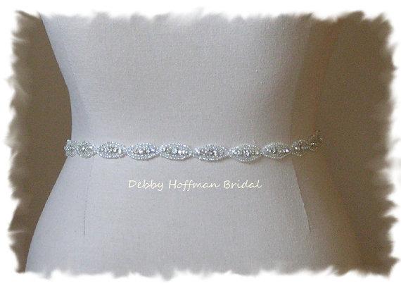 Mariage - Bridal Sash, Wedding Dress Belt, Beaded Rhinestone Crystal Sash, Wedding Party Belt, No. 4070S-18, Rhinestone Sash, Belt, Bridesmaid Sash